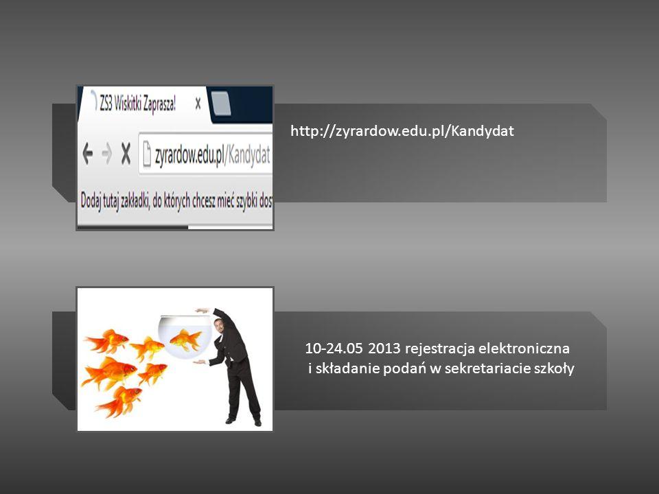 http://zyrardow.edu.pl/Kandydat 10-24.05 2013 rejestracja elektroniczna i składanie podań w sekretariacie szkoły