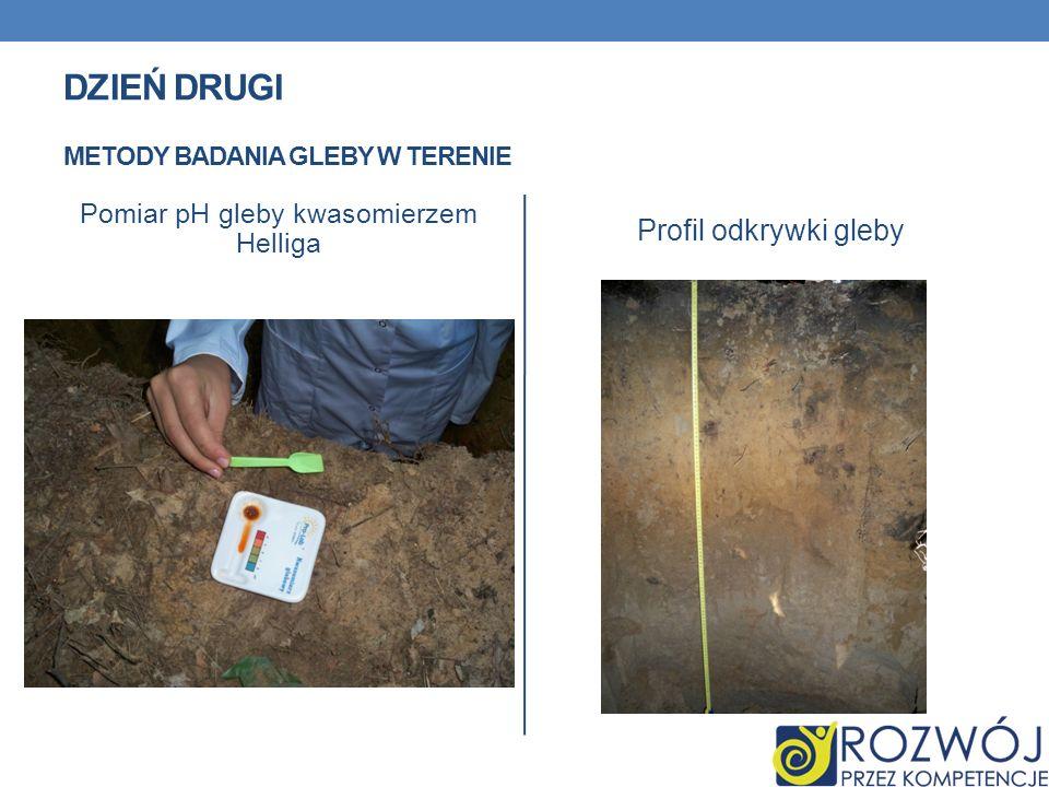 Pomiar pH gleby kwasomierzem Helliga Profil odkrywki gleby DZIEŃ DRUGI METODY BADANIA GLEBY W TERENIE