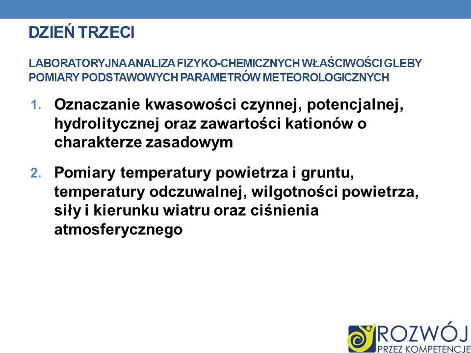 1. Oznaczanie kwasowości czynnej, potencjalnej, hydrolitycznej oraz zawartości kationów o charakterze zasadowym 2. Pomiary temperatury powietrza i gru