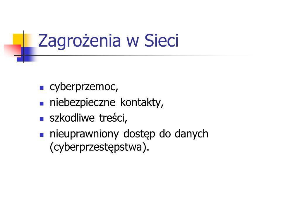 Zagrożenia w Sieci cyberprzemoc, niebezpieczne kontakty, szkodliwe treści, nieuprawniony dostęp do danych (cyberprzestępstwa).
