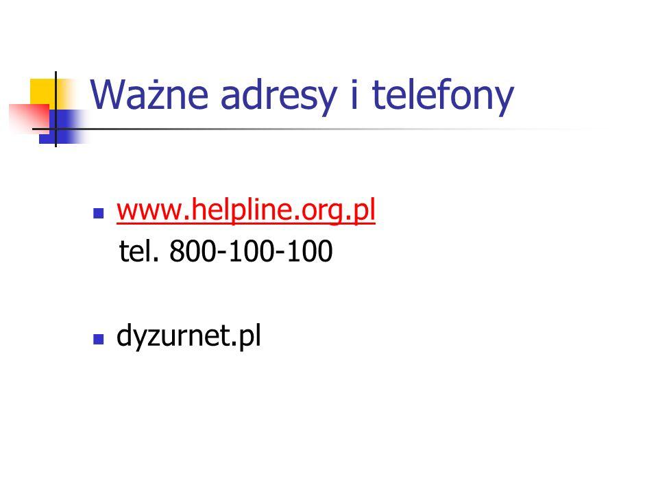 Ważne adresy i telefony www.helpline.org.pl tel. 800-100-100 dyzurnet.pl