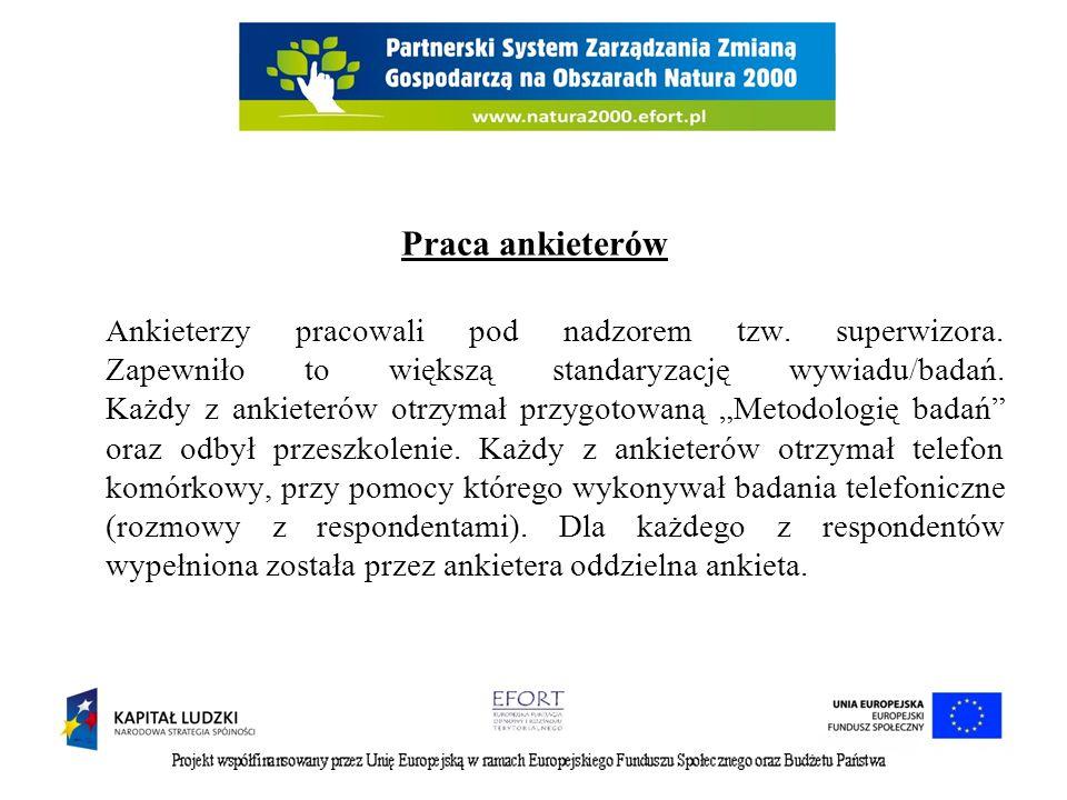 Forma realizacji badania narzędziem badawczym była ankieta, zawierająca 7 pytań, w tym: - pytania tak/nie (3 pytania) - pytania ze skalą (2 pytania) - pytania otwarte (2 pytania) Wielkość próby 300 osób (mieszkańcy powiatów: sokólski, białostocki, miasto Białystok) Ilość badań 1 (wykonane jeden raz, bez powtórzeń)