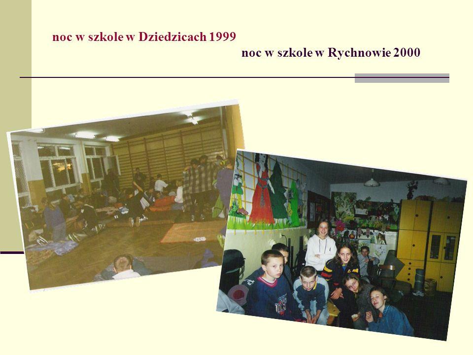 noc w szkole w Dziedzicach 1999 noc w szkole w Rychnowie 2000