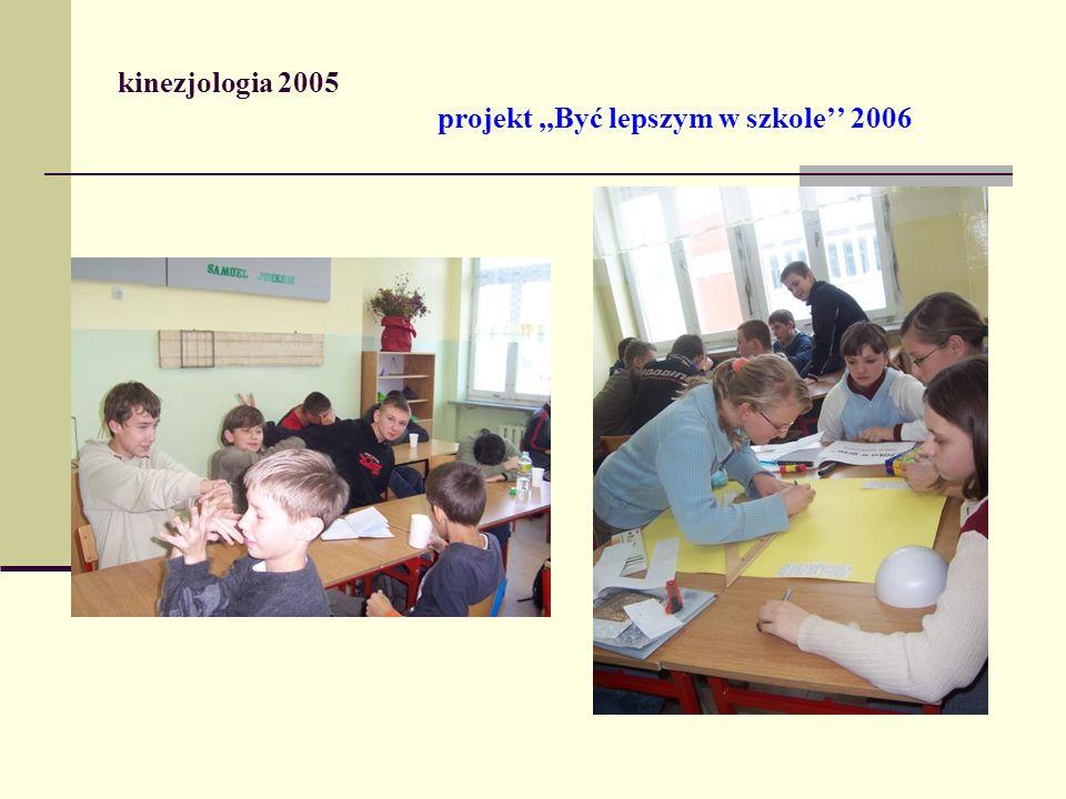 kinezjologia 2005 projekt,,Być lepszym w szkole 2006