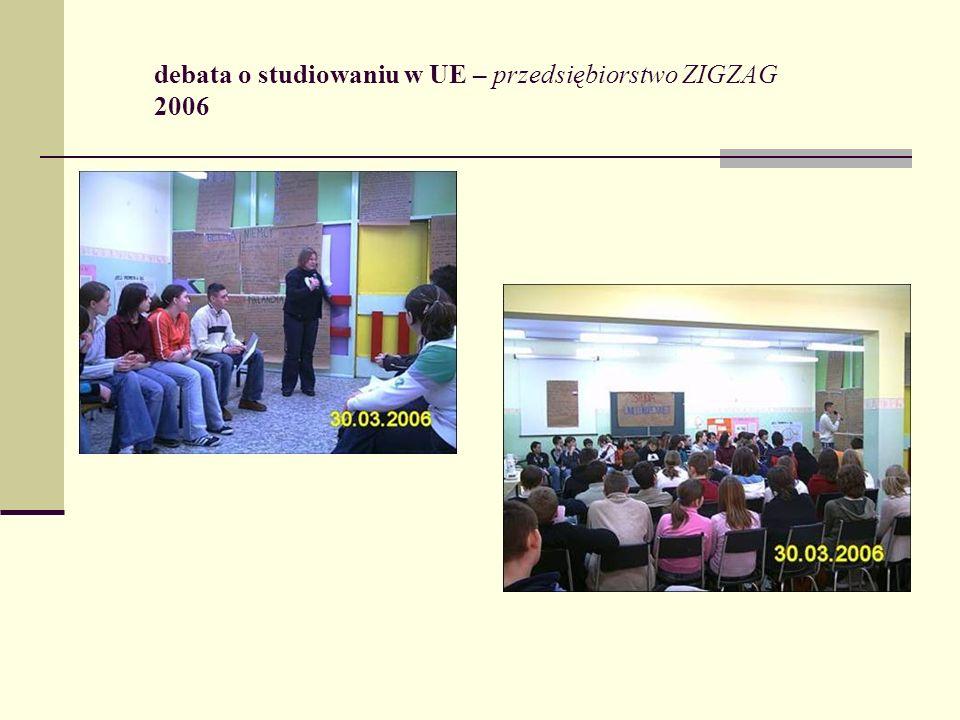 debata o studiowaniu w UE – przedsiębiorstwo ZIGZAG 2006