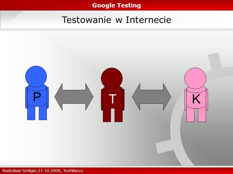 obrazkowa Zadanie 3: Planowanie Testów Google Testing Radosław Smilgin,17.10.2008, TestWarez 1.Testom poddane będę wszystkie zmienione funkcjonalności Testy manualne Testy z użytkownikami 2.Przetestowane zostaną zmiany w konfiguracji Menu nawigacji i we wstępniaku w różnych konfiguracjach przy pomocy Google Optimizer tekstowaobrazkowa tekstowa Oryginał Kombinacja 5 Kombinacja 1Kombinacja 2 Kombinacja 4Kombinacja 3