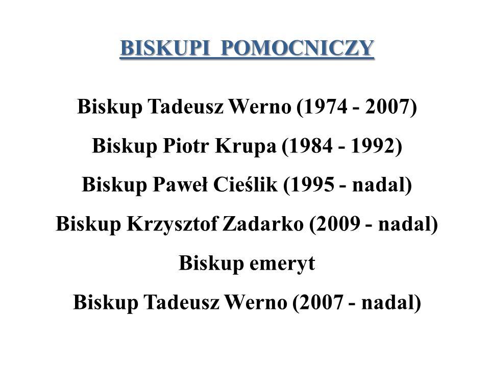 BISKUPI POMOCNICZY Biskup Tadeusz Werno (1974 - 2007) Biskup Piotr Krupa (1984 - 1992) Biskup Paweł Cieślik (1995 - nadal) Biskup Krzysztof Zadarko (2