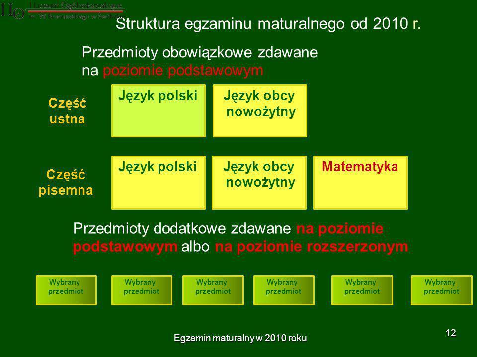 Egzamin maturalny w 2010 roku 12 Przedmioty obowiązkowe zdawane na poziomie podstawowym Struktura egzaminu maturalnego od 2010 r.