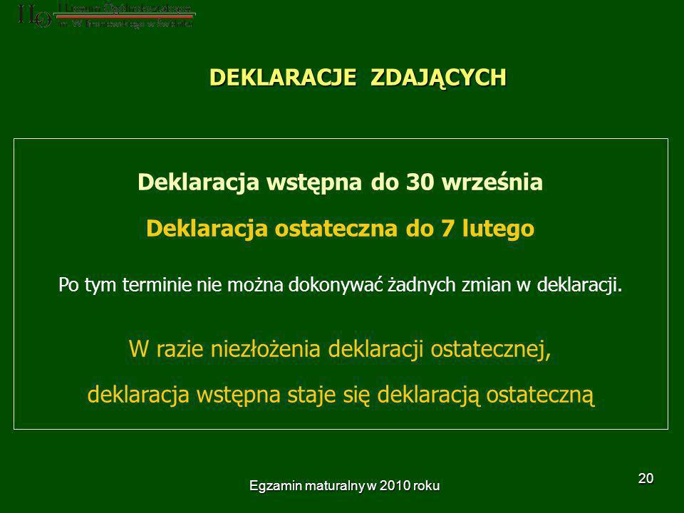 Egzamin maturalny w 2010 roku 20 DEKLARACJE ZDAJĄCYCH Deklaracja wstępna do 30 września Deklaracja ostateczna do 7 lutego Po tym terminie nie można dokonywać żadnych zmian w deklaracji.