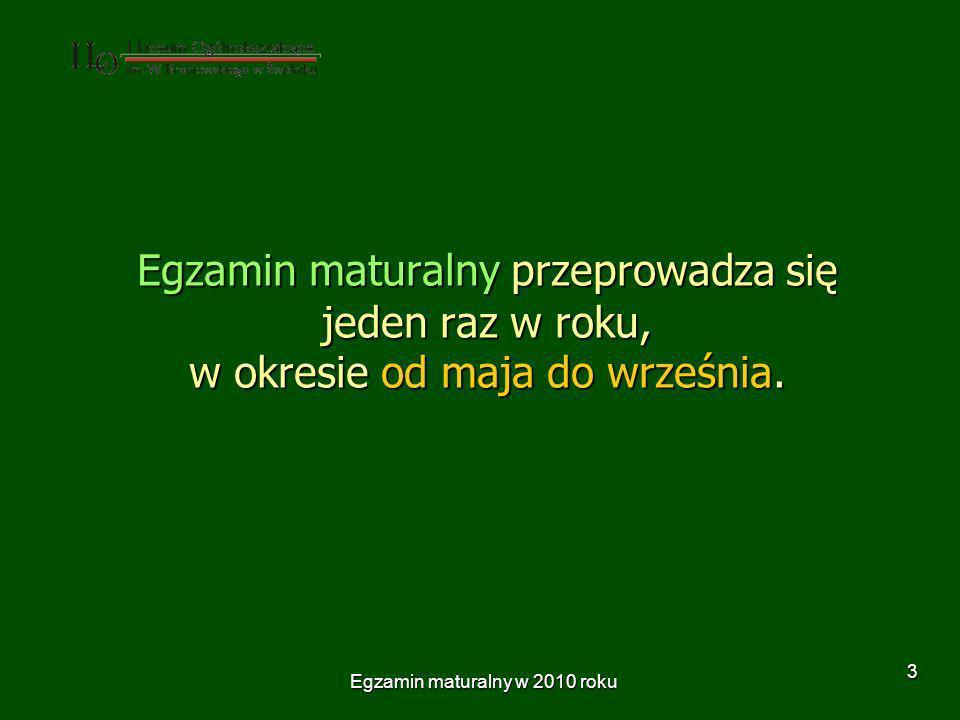 Egzamin maturalny w 2010 roku 14 Egzamin maturalny z języka polskiego składa się z dwóch części: Egzamin maturalny z języka polskiego składa się z dwóch części: prezentacji wybranego tematu prezentacji wybranego tematu rozmowy zdającego z egzaminującymi – związanej z prezentacją tematu rozmowy zdającego z egzaminującymi – związanej z prezentacją tematu zdający dostarcza przewodniczącemu zespołu egzaminacyjnego wykaz bibliografii wykorzystywanej do opracowania tematu nie później niż 4 tygodnie przed terminem części ustnej.