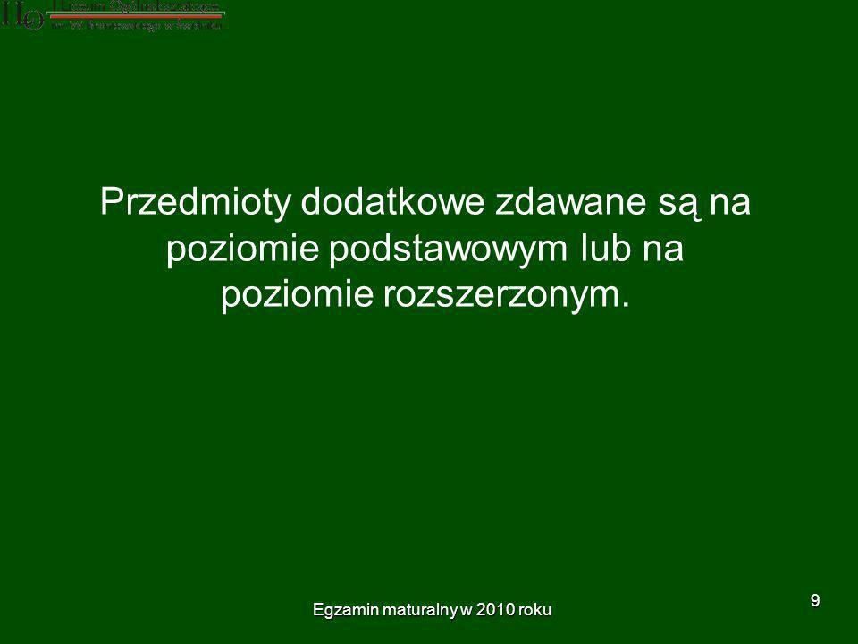 Egzamin maturalny w 2010 roku 10 W przypadku, gdy absolwent wybrał jako dodatkowy ten sam przedmiot, który zdawał jako przedmiot obowiązkowy (język polski, matematyka, język obcy nowożytny) zdaje go na poziomie rozszerzonym.