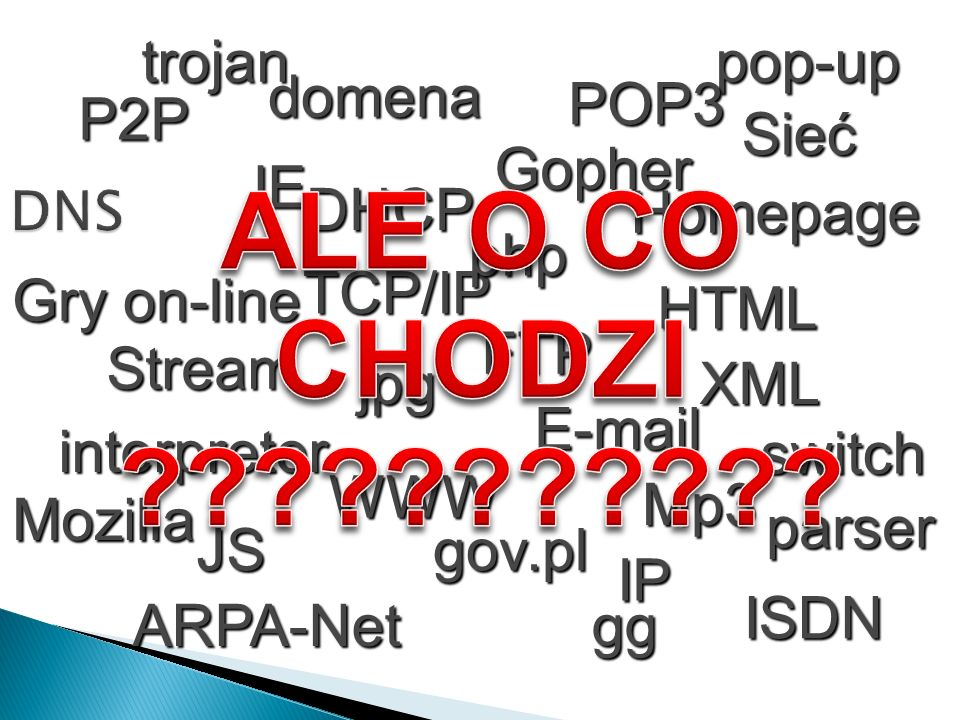 WWW Homepage FTP TCP/IP Gopher E-mail IE gg HTML Sieć ARPA-Net Stream Mozilla P2P IP switch ISDN Gry on-line trojanpop-upjpg parser interpreter php JS
