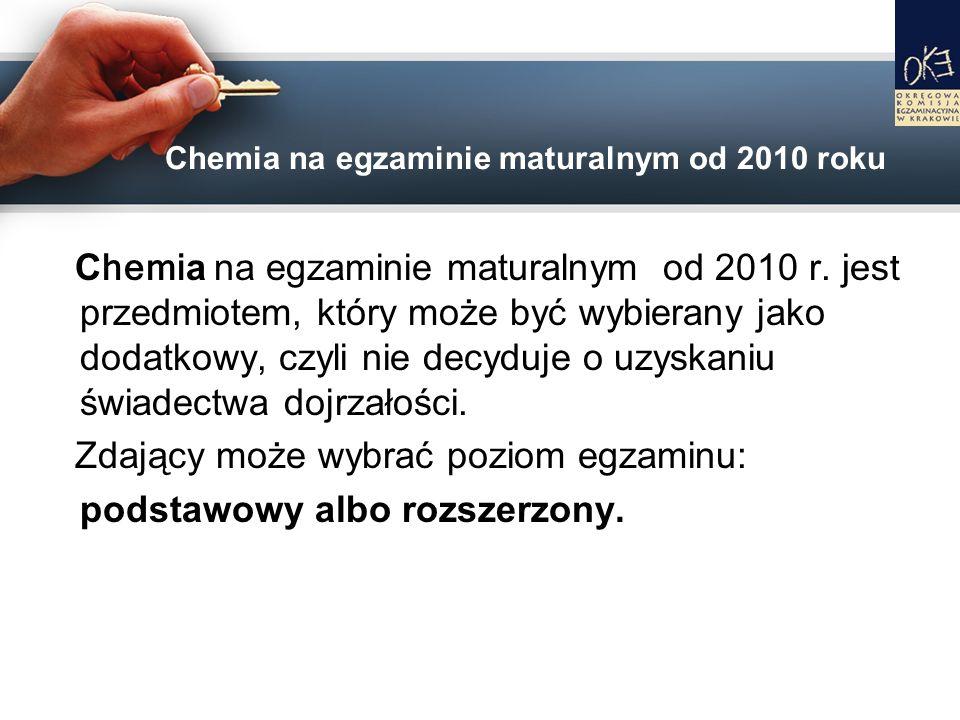 C hemi a na egzaminie maturalnym od 2010 r. jest przedmiotem, który może być wybierany jako dodatkowy, czyli nie decyduje o uzyskaniu świadectwa dojrz