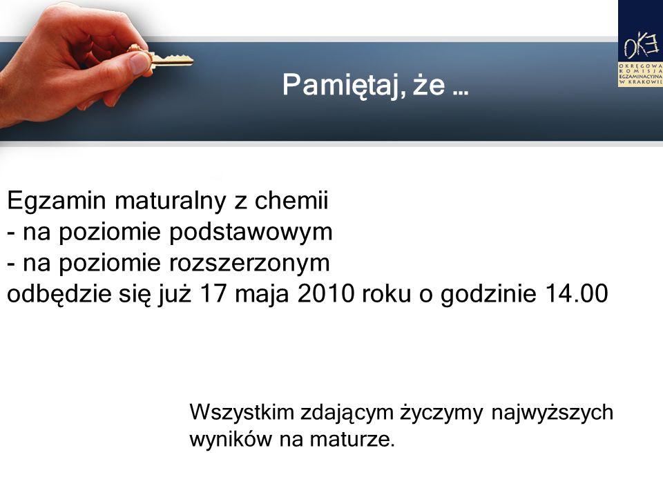 Pamiętaj, że … Egzamin maturalny z chemii - na poziomie podstawowym - na poziomie rozszerzonym odbędzie się już 17 maja 2010 roku o godzinie 14.00 Wsz