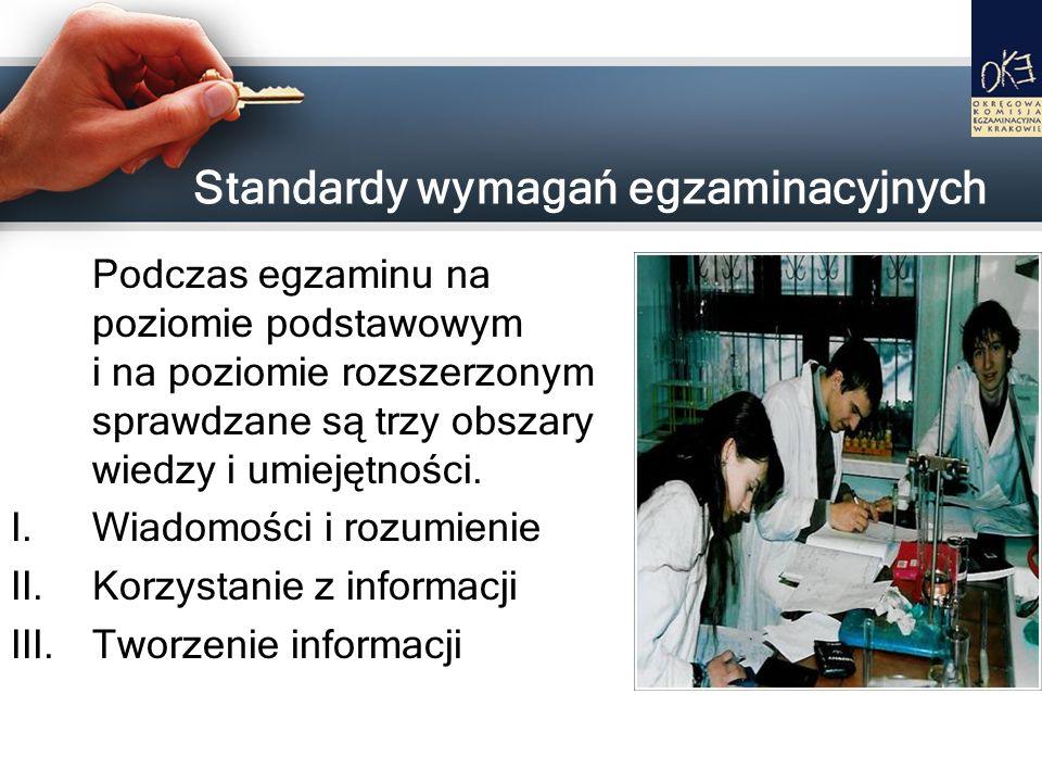 Standardy wymagań egzaminacyjnych Podczas egzaminu na poziomie podstawowym i na poziomie rozszerzonym sprawdzane są trzy obszary wiedzy i umiejętności