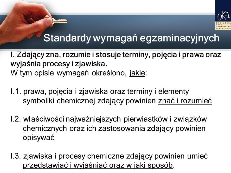 Standardy wymagań egzaminacyjnych I. Zdający zna, rozumie i stosuje terminy, pojęcia i prawa oraz wyjaśnia procesy i zjawiska. W tym opisie wymagań ok