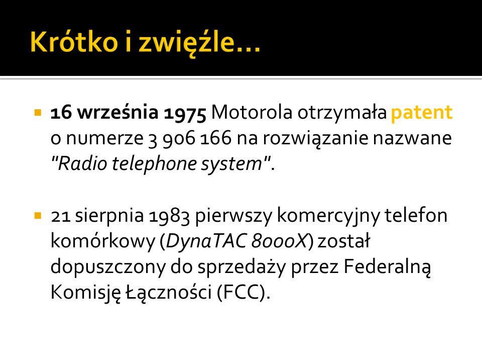16 września 1975 Motorola otrzymała patent o numerze 3 906 166 na rozwiązanie nazwane