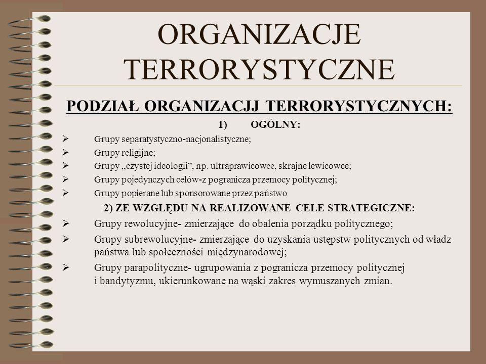 ORGANIZACJE TERRORYSTYCZNE PODZIAŁ ORGANIZACJJ TERRORYSTYCZNYCH: 1)OGÓLNY: Grupy separatystyczno-nacjonalistyczne; Grupy religijne; Grupy czystej ideo