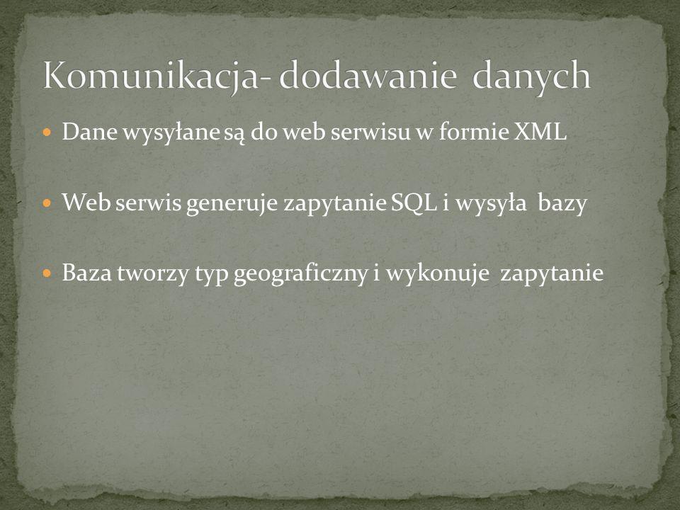 Dane wysyłane są do web serwisu w formie XML Web serwis generuje zapytanie SQL i wysyła bazy Baza tworzy typ geograficzny i wykonuje zapytanie