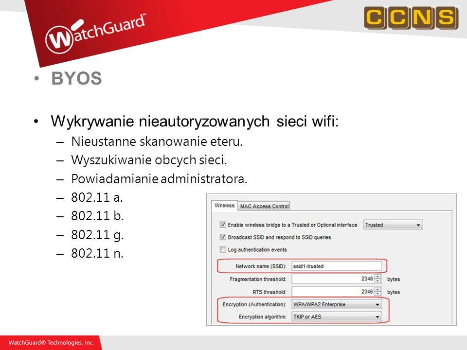 BYOS Wykrywanie nieautoryzowanych sieci wifi: – Nieustanne skanowanie eteru. – Wyszukiwanie obcych sieci. – Powiadamianie administratora. – 802.11 a.
