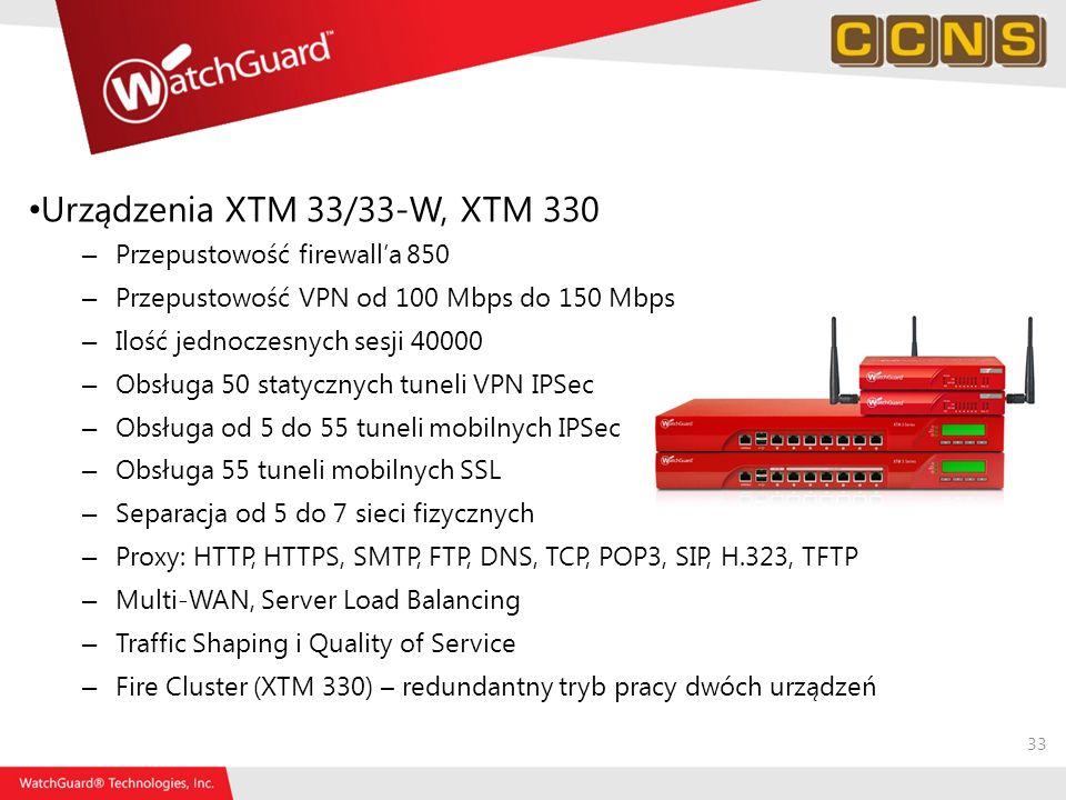 33 Urządzenia XTM 33/33-W, XTM 330 – Przepustowość firewalla 850 – Przepustowość VPN od 100 Mbps do 150 Mbps – Ilość jednoczesnych sesji 40000 – Obsłu