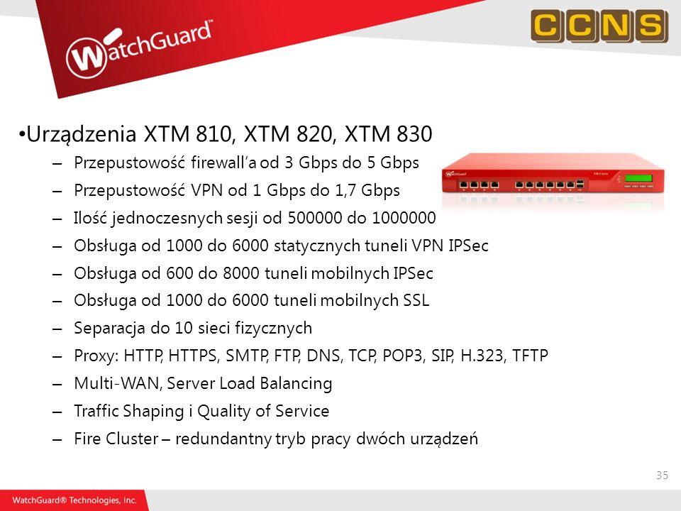35 Urządzenia XTM 810, XTM 820, XTM 830 – Przepustowość firewalla od 3 Gbps do 5 Gbps – Przepustowość VPN od 1 Gbps do 1,7 Gbps – Ilość jednoczesnych