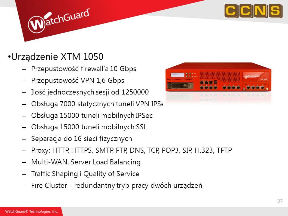 37 Urządzenie XTM 1050 – Przepustowość firewalla 10 Gbps – Przepustowość VPN 1,6 Gbps – Ilość jednoczesnych sesji od 1250000 – Obsługa 7000 statycznyc