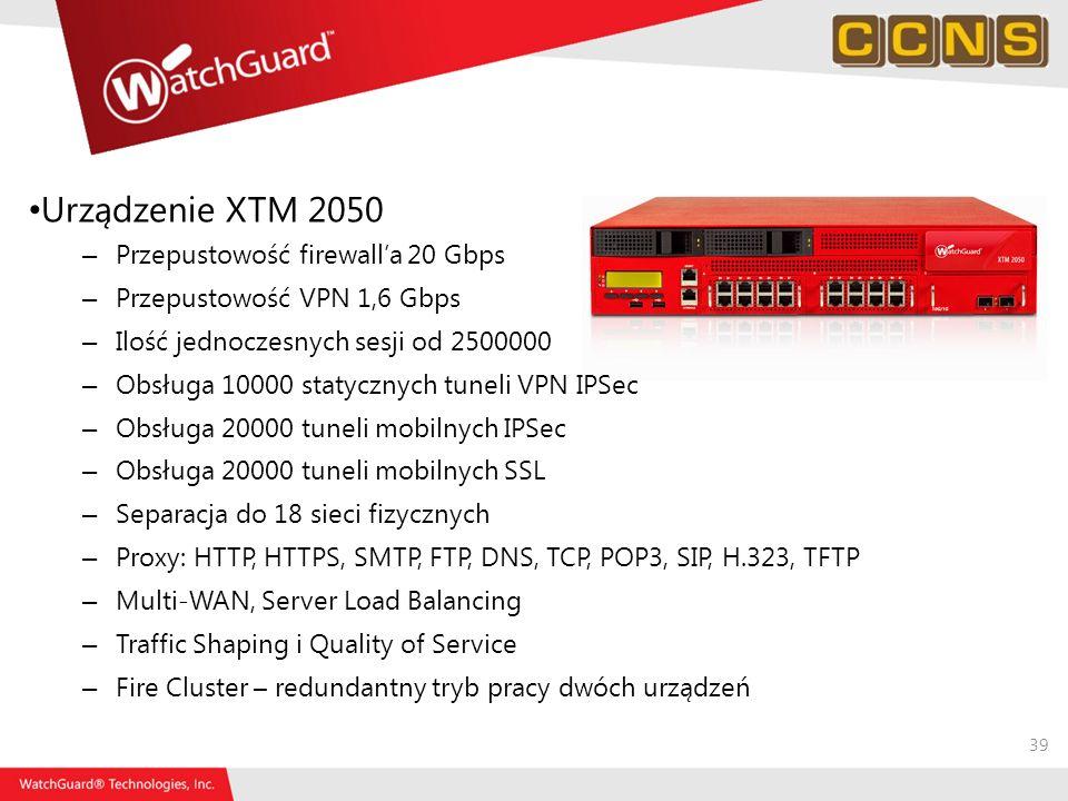 39 Urządzenie XTM 2050 – Przepustowość firewalla 20 Gbps – Przepustowość VPN 1,6 Gbps – Ilość jednoczesnych sesji od 2500000 – Obsługa 10000 statyczny