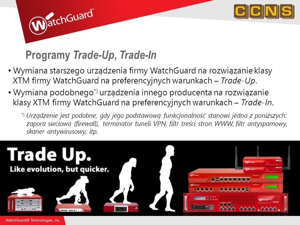 60 Programy Trade-Up, Trade-In Wymiana starszego urządzenia firmy WatchGuard na rozwiązanie klasy XTM firmy WatchGuard na preferencyjnych warunkach –
