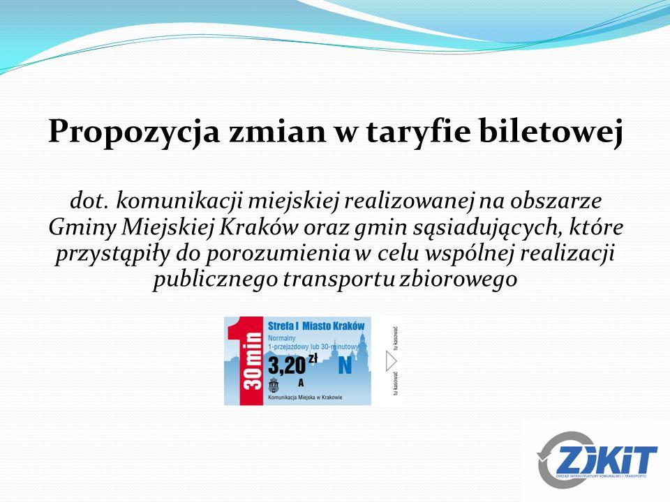 Propozycja zmian w taryfie biletowej dot. komunikacji miejskiej realizowanej na obszarze Gminy Miejskiej Kraków oraz gmin sąsiadujących, które przystą