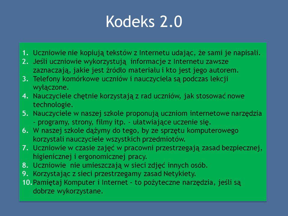 Kodeks 2.0 1.Uczniowie nie kopiują tekstów z Internetu udając, że sami je napisali. 2.Jeśli uczniowie wykorzystują informacje z Internetu zawsze zazna