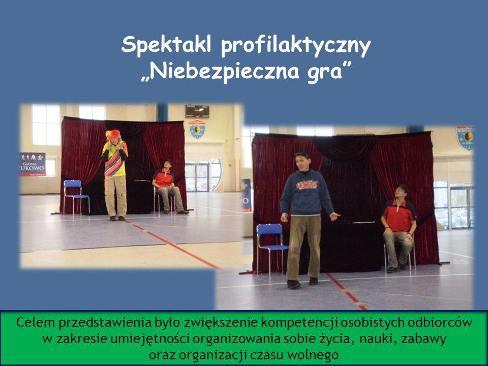 Spektakl profilaktyczny Niebezpieczna gra Celem przedstawienia było zwiększenie kompetencji osobistych odbiorców w zakresie umiejętności organizowania