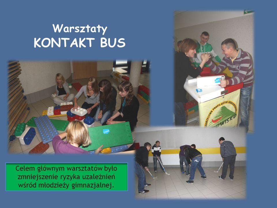 Warsztaty KONTAKT BUS Celem głównym warsztatów było zmniejszenie ryzyka uzależnień wśród młodzieży gimnazjalnej.