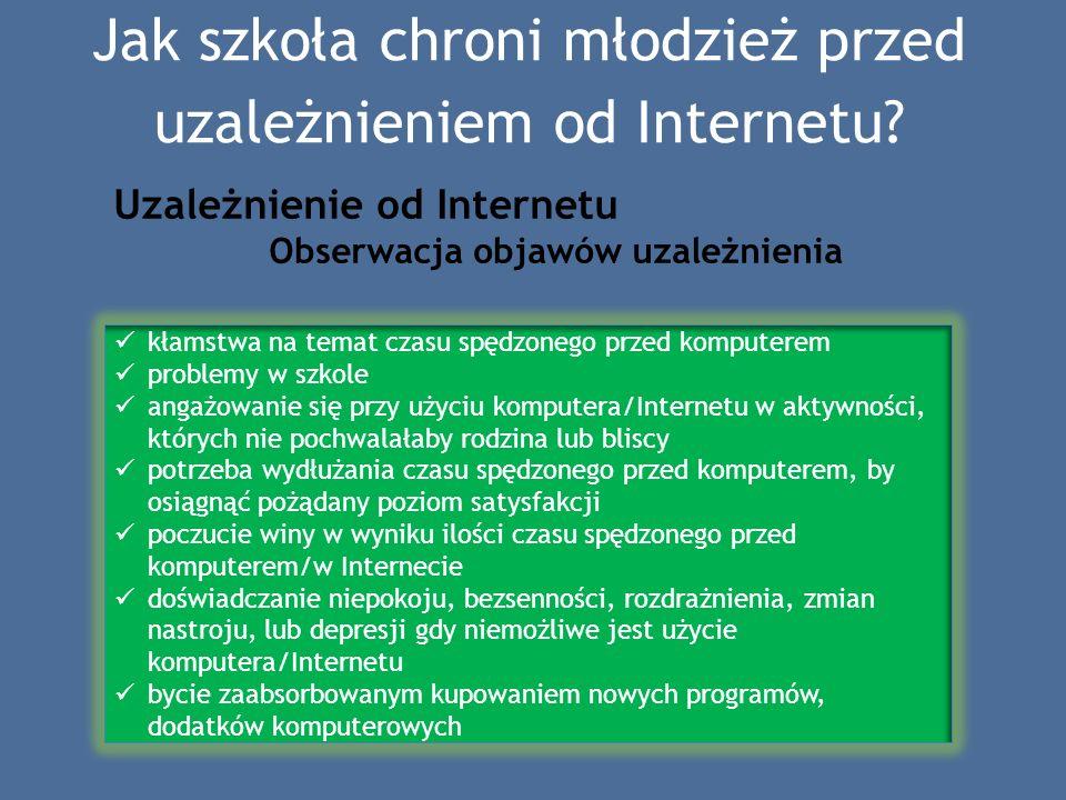 Jak szkoła chroni młodzież przed uzależnieniem od Internetu? Uzależnienie od Internetu Obserwacja objawów uzależnienia kłamstwa na temat czasu spędzon