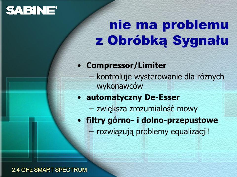 Compressor/Limiter –kontroluje wysterowanie dla różnych wykonawców automatyczny De-Esser –zwiększa zrozumiałość mowy filtry górno- i dolno-przepustowe
