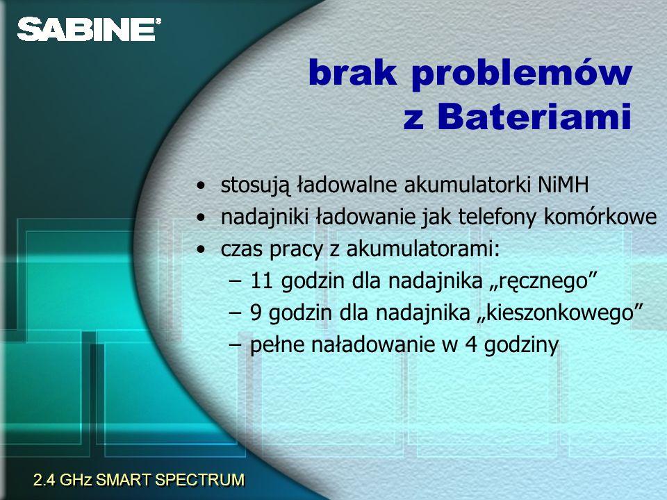 brak problemów z Bateriami stosują ładowalne akumulatorki NiMH nadajniki ładowanie jak telefony komórkowe czas pracy z akumulatorami: –11 godzin dla n
