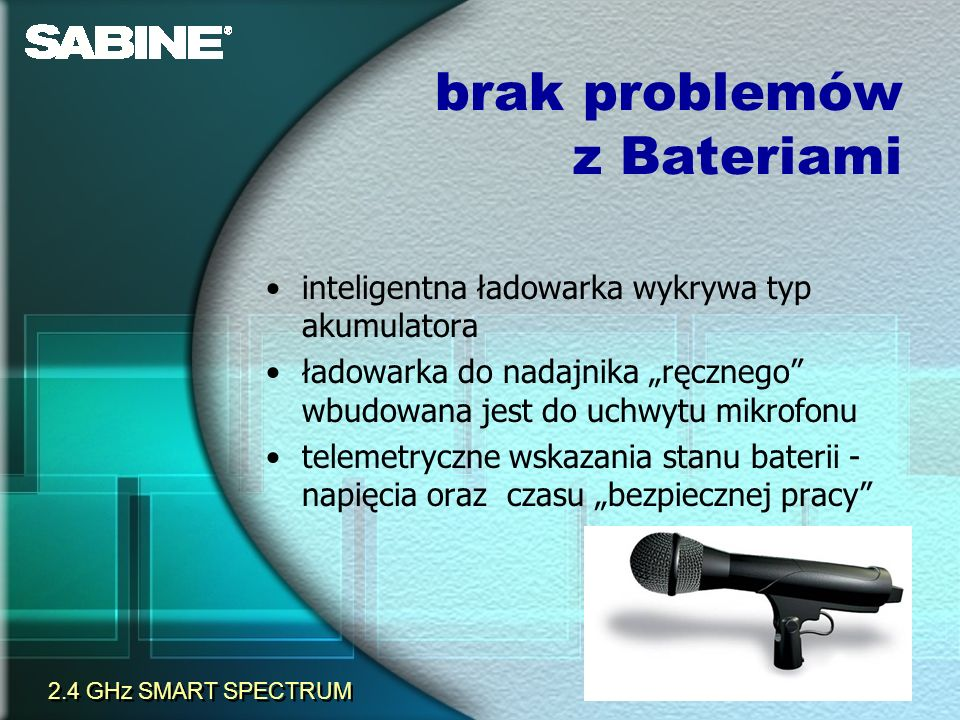 inteligentna ładowarka wykrywa typ akumulatora ładowarka do nadajnika ręcznego wbudowana jest do uchwytu mikrofonu telemetryczne wskazania stanu bater