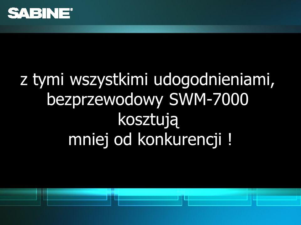 z tymi wszystkimi udogodnieniami, bezprzewodowy SWM-7000 kosztują mniej od konkurencji !