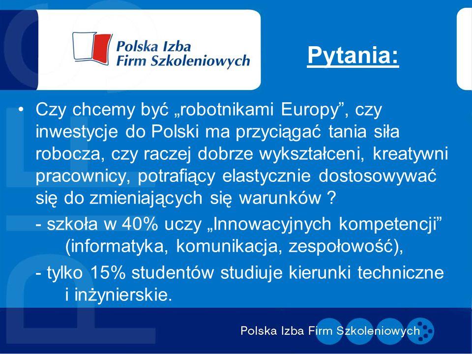 Pytania: Czy chcemy być robotnikami Europy, czy inwestycje do Polski ma przyciągać tania siła robocza, czy raczej dobrze wykształceni, kreatywni praco