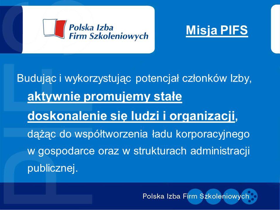 Misja PIFS Budując i wykorzystując potencjał członków Izby, aktywnie promujemy stałe doskonalenie się ludzi i organizacji, dążąc do współtworzenia ładu korporacyjnego w gospodarce oraz w strukturach administracji publicznej.