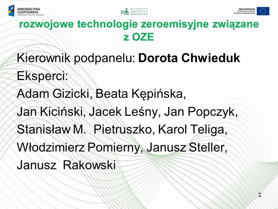 rozwojowe technologie zeroemisyjne związane z OZE Kierownik podpanelu: Dorota Chwieduk Eksperci: Adam Gizicki, Beata Kępińska, Jan Kiciński, Jacek Leśny, Jan Popczyk, Stanisław M.