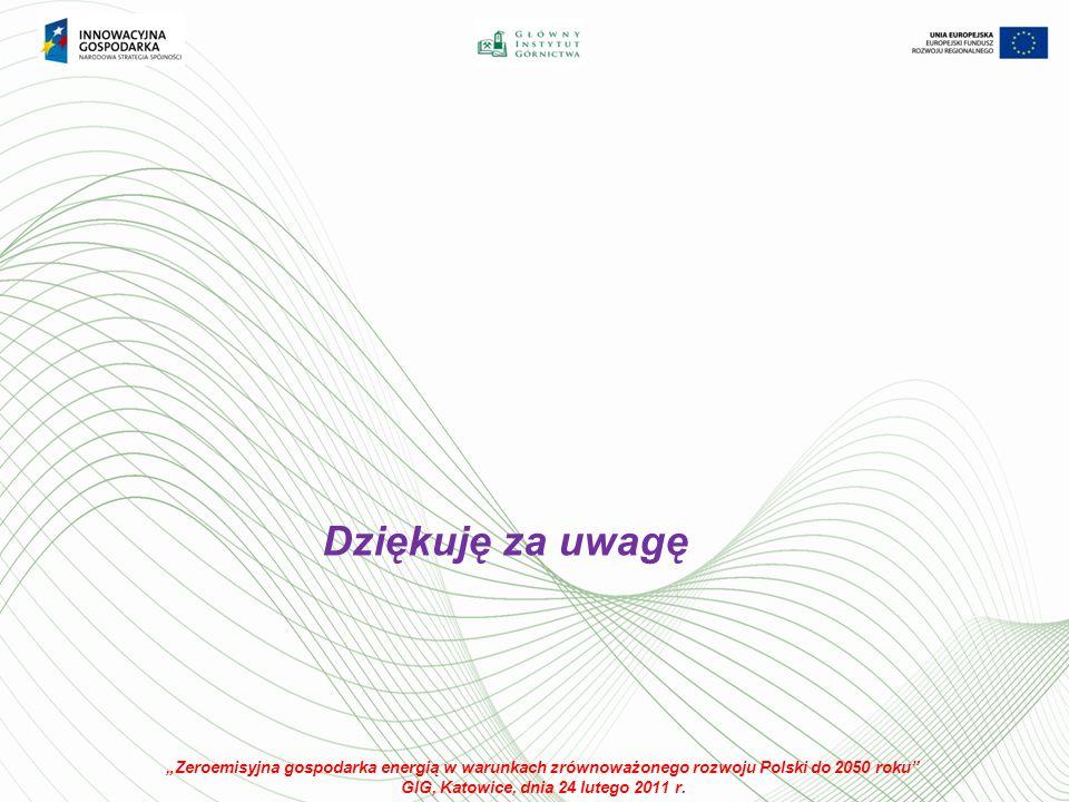 Dziękuję za uwagę Zeroemisyjna gospodarka energią w warunkach zrównoważonego rozwoju Polski do 2050 roku GIG, Katowice, dnia 24 lutego 2011 r.