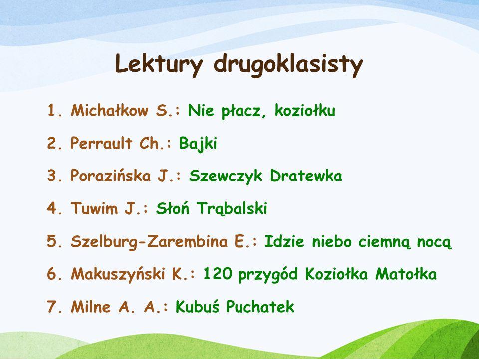 Lektury drugoklasisty 1.Andersen H. Ch.: Dziecię elfów 2.Centkiewiczowie A. i C.: Zaczarowana zagroda 3.Grabowski J.: Puc, Bursztyn i goście 4.Krüger