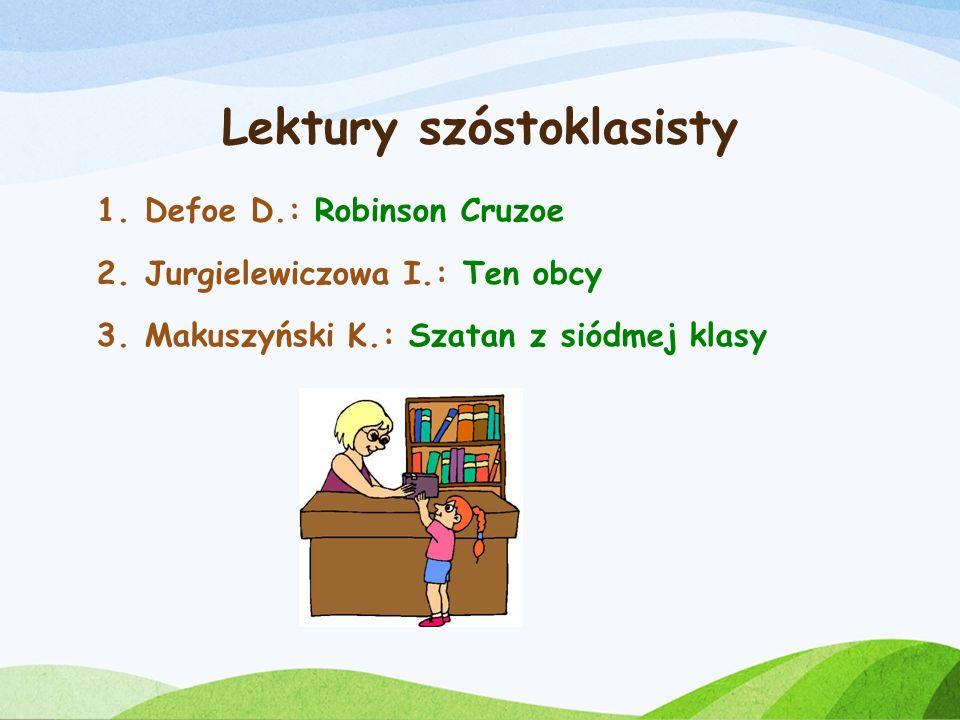 Lektury piątoklasisty 1.Prus B.: Katarynka 2.Sienkiewicz H.: W pustyni i w puszczy 3.Niziurski E.: Sposób na Alcybiadesa 4.Molnar F.: Chłopcy z Placu Broni