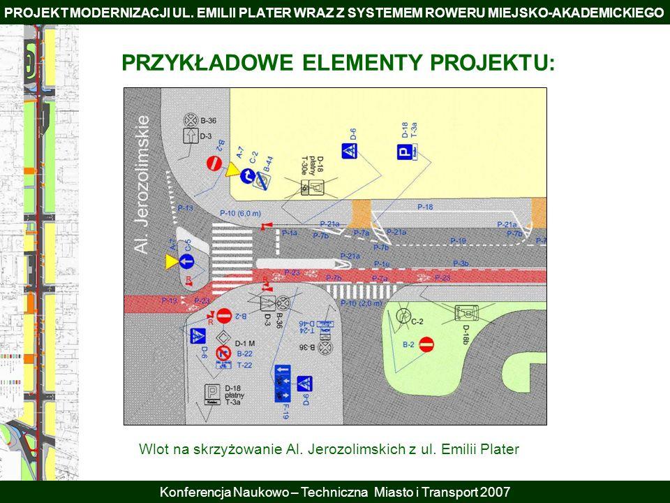 PROJEKT MODERNIZACJI UL. EMILII PLATER WRAZ Z SYSTEMEM ROWERU MIEJSKO-AKADEMICKIEGO Konferencja Naukowo – Techniczna Miasto i Transport 2007 PRZYKŁADO