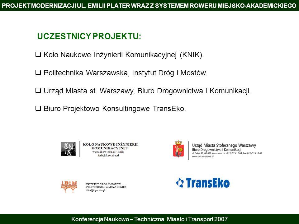PROJEKT MODERNIZACJI UL. EMILII PLATER WRAZ Z SYSTEMEM ROWERU MIEJSKO-AKADEMICKIEGO Konferencja Naukowo – Techniczna Miasto i Transport 2007 UCZESTNIC