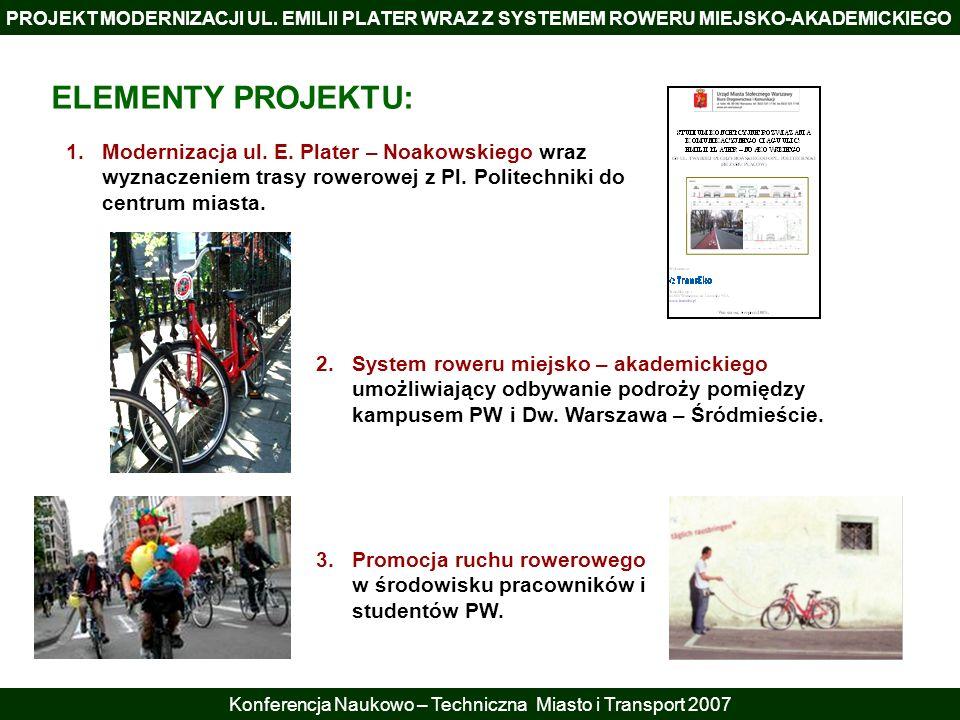 PROJEKT MODERNIZACJI UL. EMILII PLATER WRAZ Z SYSTEMEM ROWERU MIEJSKO-AKADEMICKIEGO Konferencja Naukowo – Techniczna Miasto i Transport 2007 ELEMENTY