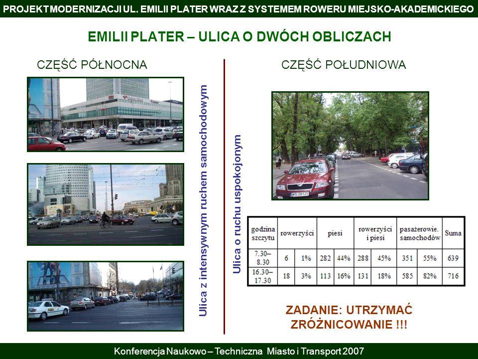 PROJEKT MODERNIZACJI UL. EMILII PLATER WRAZ Z SYSTEMEM ROWERU MIEJSKO-AKADEMICKIEGO Konferencja Naukowo – Techniczna Miasto i Transport 2007 CZĘŚĆ PÓŁ