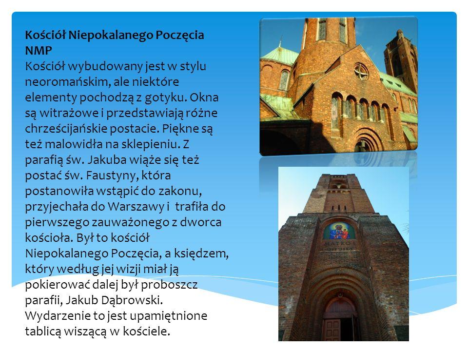 Kościół Niepokalanego Poczęcia NMP Kościół wybudowany jest w stylu neoromańskim, ale niektóre elementy pochodzą z gotyku. Okna są witrażowe i przedsta