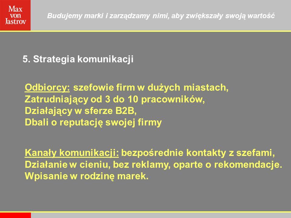 Budujemy marki i zarządzamy nimi, aby zwiększały swoją wartość 5. Strategia komunikacji Odbiorcy: szefowie firm w dużych miastach, Zatrudniający od 3